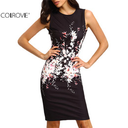 Wholesale Vintage Sheath Dress Xs - Wholesale-COLROVE 2016 New Summer Style Bodycon Dresses Vintage Ladies Sexy Fitness Floral Print Sleeveless Crew Neck Dress