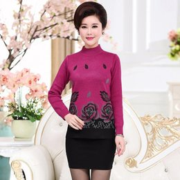 Wholesale Diamond Garter - Fashion-Nice Autumn Winter Mother Christmas Sweaters Pullovers Plus Size Women Turtleneck Flower Diamond Jumper Knitted Tops Pull Femme