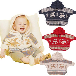 Wholesale Toddler Hooded Poncho - Christmas Baby Clothes Infant Cape Children Poncho Winter Toddler Hooded Poncho kids Knitted Coat Baby Clothing Infant Clothing Wear A1164