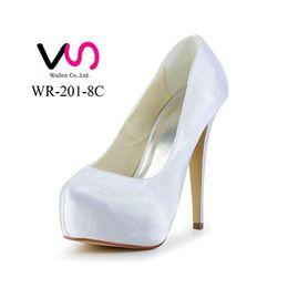 Wholesale Super Princess Shoes - 2016 New Super High Heel Prom Wedding Shoes Princess High Heel Ivory Dyeable Satin Pump Women Bridal Shoes wedding Shoes
