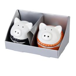 Wholesale Couple Wedding Favors - Ceramic Wedding Favors Gifts Couple Pigs Salt and Pepper Shaker Set Wedding Party Favors Box Black Orange 100sets=200pcs