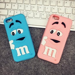Wholesale Girls I Phone Covers - 2pcs For I phone6 Case 3D Cartoon Cute Girl and Boy M&M's Chocolate Candy Color Rainbow Bean Soft Silicone Case Cover For many phone