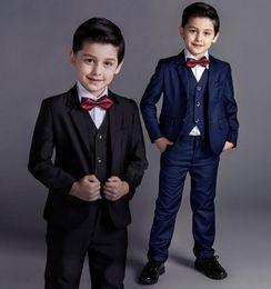 Wholesale Little Boys Image - Fashion new little boy suits pure color boy suits formal occasion boys suits for wedding hot sale(jacket+pants+vest)