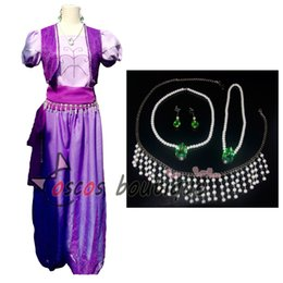 Wholesale Princess Dresses For Adults - custom made shimmer cosplay costume women adult princess dress up purple costume for kids party with earing and necklace