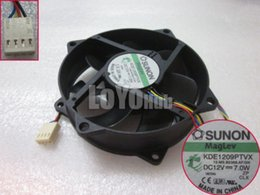 Wholesale 12v Server Fans - Free Shipping SUNON KDE1209PTVX 13.MS.B2369.AF.GN Server Round Fan 12V 7W 4wire 4-Pin Magnetic