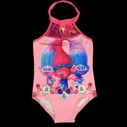 Wholesale One Piece Swimsuits Collars - Girls Collar Trolls One-Pieces grenadine Swimsuit children cartoon trolls sling baby swimming suit 3~9years
