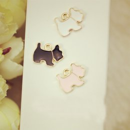 Wholesale Dog Floating Charms - Wholesale-10pcs Dog floating Enamel Charms Alloy Pendant fit for necklaces bracelets DIY Female Fashion Jewelry Accessories