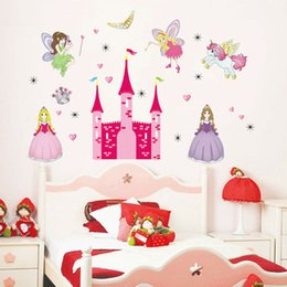 Wholesale Pink Fairy Wall Stickers - Hot Sell Princess Fairy Pink Castle Pony Removable Vinyl Wall Stickers for Kids Girls Room Decal Home Decor 60*90CM
