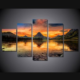 Wholesale Oil Paintings Ship Lake - 5 Pcs Set No Framed HD Printed scenery medicine lake glacier Painting Canvas Print room decor print poster picture canvas Free shipping