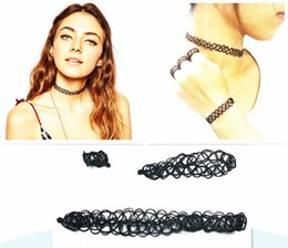 Wholesale Gothic Bracelets Rings - 2017 Tattoo Choker Necklace Bracelet Charming Vintage Style 90's Black Ring Set Elastic Stretch Gothic Jewelry Sets New Fashion 9 Colors