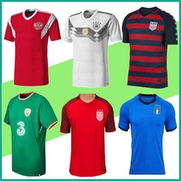 Wholesale Italy Home - wholesale Thai quality Russia 2017 2018 World Cup Italy soccer jersey Ireland jersey home away Germany uniforms customize men football shirt