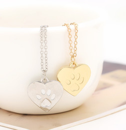 Wholesale God Hearts - Wholesale-Valentine's Day Gift God of love Heart Paw Claw of Dog Kitty Cat Pendant Necklace Gold Silver Lovers Jewelry Women