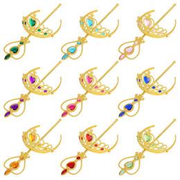 Tiara de diamante princesa online-11 colores niñas princesa oro color accesorios de cosplay niños diamante corona tiaras + magia 2 unids establece varitas niños navidad regalo de la fiesta