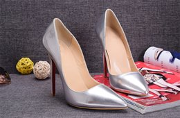 Wholesale Silver Low Heeled Pumps - Red Silver Patent Leather with Spikes Red Bottom High Heels Women Shoes 12cm High Heel Ladies Female Shoes Low Footwear Pumps