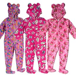 Wholesale Kids Fleece Jumpsuit - 2016 Girls Kid Camo Onesie Pyjamas Footed Hooded Fleece Jumpsuit 3-12Y Nightwear Sleepwear Nightgown One-piece Animal Warm Winter