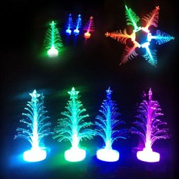 Wholesale Christmas Electric Light Wholesalers - Free Shipping Beatiful and Colorful LED Fiber Optic Nightlight Christmas Tree Lamp Light Children Xmas Gift