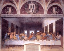 Wholesale Museum Art - THE LAST SUPPER JESUS CHRIST BY LEONARDO DA VINCI,Hand-painted Figure Art oil painting On Canvas MUSEUM QUALITY in any size customized
