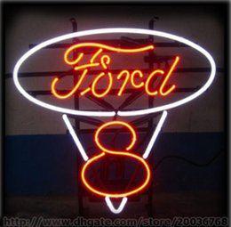 "Wholesale Custom Metal Signs - Neon sign Ford V8 Oval Huge Sign in Full Steel Black Metal Frame Sign Store Bar Garage Display Custom Neon Signs 18""x22"""