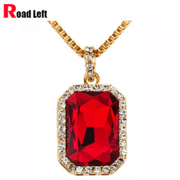 Wholesale Dance Gold Necklace - Wholesale-18K Gold Plated Hip Hop Dance Chains Men Women Red Black Blue Green White Ruby Pendant Bling Bling Necklace