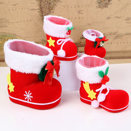Wholesale Xmas Gift Boxes Wholesale - Christmas Boots Candy Box Christmas Decoration Christmas Wedding Candy Bags Lovely Gifts Xmas Boots Stocking For Children