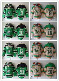 Wholesale Ice Hockey Hoodies - Minnesota North Stars Hockey Men Jerseys 9 Mike Modano 91 Tyler Seguin 14 Jamie Benn Hoodies Hockey Hoodie Hooded Sweatshirt Jackets Jersey