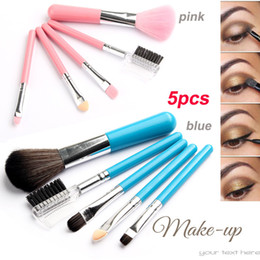 Wholesale Mini Makeup Brushes - Brand Small Mini 5Pcs Makeup Brushes Sets Gift Cosmetics Tools Eyeshadow Foundation Cosmetic Makeup Brush Blush Brushes Kit Pink Blue