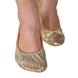 Wholesale Ballet Dance Shoes Gold - Wholesale-Women Girl Canvas Belly Dance Shoes Slipper Flat Ballet Gymnastics Dancing Shoes
