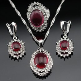 Wholesale Red Agate Earrings - Red Ruby White Crystal 925 Sterling Silver Jewelry Sets For Women Earrings Necklace Pendant Rings Free Gift Box