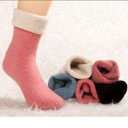 Wholesale Wholesale Calf High Socks - Wholesale-1 Pair 2016 NEW Women's Lady Sheep Wool Winter Knit Warm Mid-Calf Causal Socks High Quality Cute
