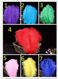 Wholesale Centerpiece Feathers Wholesale - 2016 20-25cm color Ostrich Feathers Thin rod Plume Centerpiece for Wedding Party Table Decoration feather Flower arranging YM44