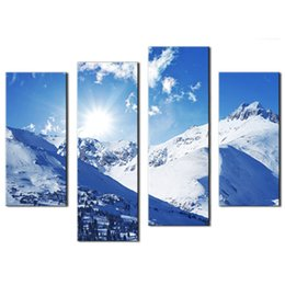 Wholesale Oil Painting Mountains Landscape - Landscape painting 4 Pieces Wall Art Sunny Winter Rocky Mountains Painting Printed on Canvas For Home Living room Decoration(Wooden Framed)