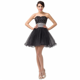 Wholesale Cheap Sequin Corset Prom Dress - 2016 Cute Little Black Beaded Tulle Short Homecoming Prom Dresses with Lace up Cheap Sweetheart Ruched Tulle Corset Party Gowns under 100