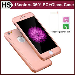 Wholesale Pink Body Protector - 360 Degree Coverage Hard PC Case For iPhone 5 5S SE 6 6S 7 Plus Full Body & Screen Tempered Glass Protector Phone Cover DHL
