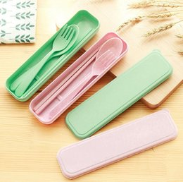 Wholesale Travel Flatware Set - cutlery set cute portable travel adult cutlery wheat straw fork spoon chopstick flatware set camping picnic set gift for child