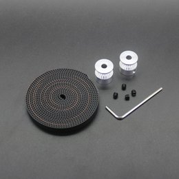 Wholesale 3d Printer Pulley - Free Shipping 5sets lot 2Pcs 20-GT2-6 GT2 Pulley And 2m GT2-6mm Open GT2 Belt for 3D printer(4xM3 setscrews and 1xAllen Key)