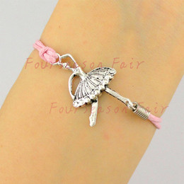 Wholesale Wholesale Ballerina Charms - Newest Simple Silver Ballet Dancer Ballerina Rope Bracelets & Bangles For Belly Dance Lovers Bracelet For Best Friend Gift-Drop Shipping