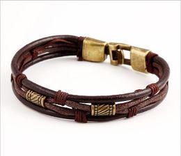 Wholesale Still Bracelets - European and American style bracelet multi - layer leather bracelet burst bracelet men and women Korea is still jewelry