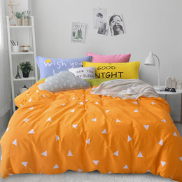 Wholesale Fitted Bedspreads Twin - Wholesale-Nordic Bedding set 4pcs for queen twin size 100% cotton cartoon kids duvet cover set bed linen bed sheet fitted sheet bedspread