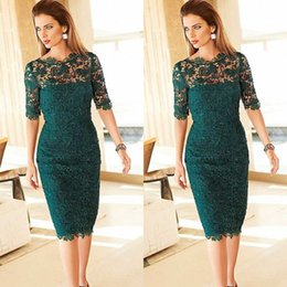 Wholesale Knee Length Gorgeous Cocktail Dresses - Gorgeous Lace Mother of the Bride Groom Dresses Sheath Column Teal Illusion Neckline Short Sleeves Cocktail Party Gowns Custom Made