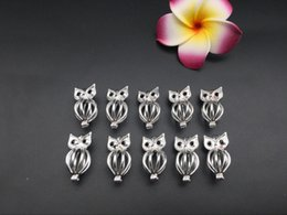 Wholesale Owl Oil - Pearl cage necklace pendant, essence essential oil diffuser, owl provides silver-plated 10pc- plus your own pearl makes it more attractive