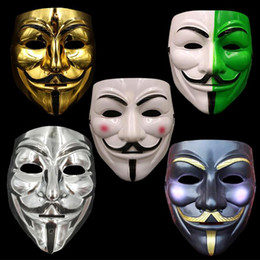 Wholesale Costumes Guys - V for Vendetta Mask Costume Face Mask Gold Silver White Black White Green Guy Fawkes Anonymous Fancy Party Cosplay Costume Halloween Toys