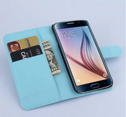 Wholesale Credit Card Book - 300pcs lot Lichee Series Book Style Leather Case With Credit Card Slot For Samsung Galaxy S6 Edge Free shipping