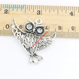 Wholesale handmade owls - 5pcs lot Antique Silver Plated Owl Charms Pendants for Necklace Jewelry Making DIY Handmade Craft 36x35mm