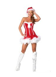 Wholesale Christmas Cocktail Dress Women - Woman's Ladies Christmas party Merry Miss Kiss Me Santa Sexy Cocktail Fancy Dress Mascot Costumes 7168 one size S-L