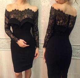 4ebe84a12 2019 vestido de coctel largo de encaje negro Vestidos de cóctel sexy negro  poco 2017 de