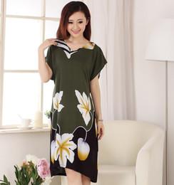 Wholesale Gray Cotton Nightdress - Wholesale- New Style Green Women Summer Cotton Robe Dress Print Flower Nightdress Sexy Sleepwear Novelty Kaftan Bath Gown Plus Size WR088