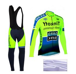 Wholesale Saxo Bank Thermal Bib Pants - Winter Thermal Fleece Flour Green Saxo Bank Tink off Cycling Jerseys Bicycle Sportswear Ropa Ciclismo Cycling Jerseys Bib Pants