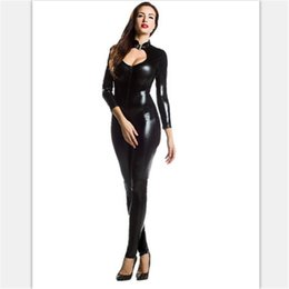 Wholesale Catwoman Latex Costume - Wholesale-high quality Sexy black Catwoman Costume HalloweenLatex Pvc suit Catsuit GameUniforms Clubwear Bodysuit Glue tights Women Zentai