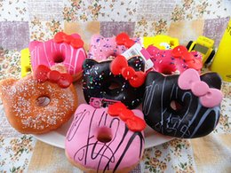 Wholesale Rose Scented - DHL Free Shipping 10cm Jumbo Hello Kitty Donut Slow Rising Squishy Charm Kawaii Squishies Cream Scented Decompression Anxiety Toy