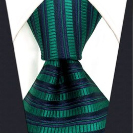 Wholesale Green Neckties For Men - C19 Blue Green Silk Striped Mens Necktie Tie Wedding Novelty Brand New Accessory extra long size Ties for male
